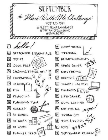 September Plan With Me Challenge